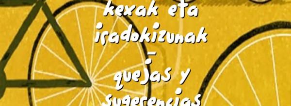 Quejas y sugerencias sobre el uso de la bicicleta Cristina Enea Fundazioa